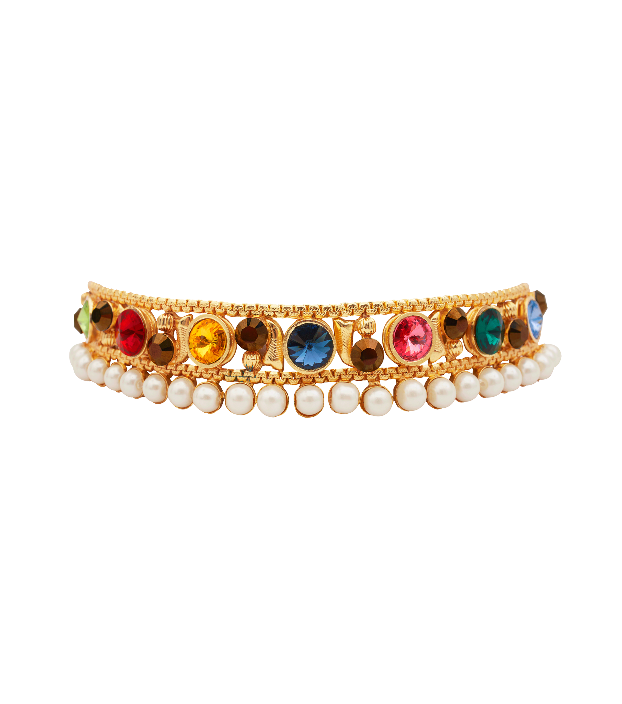 Festive Pearl Choker with multi-color stones