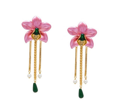 Metallic Orchid Statement Earrings - Pink