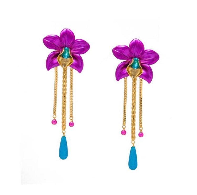 Metallic Orchid Earrings - Fuchsia