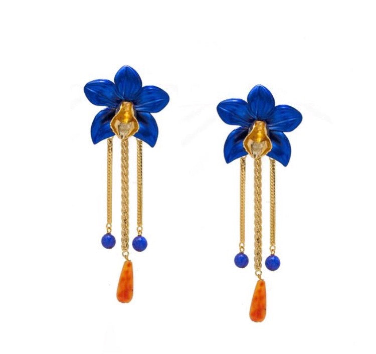 Metallic Orchid Earrings - Blue