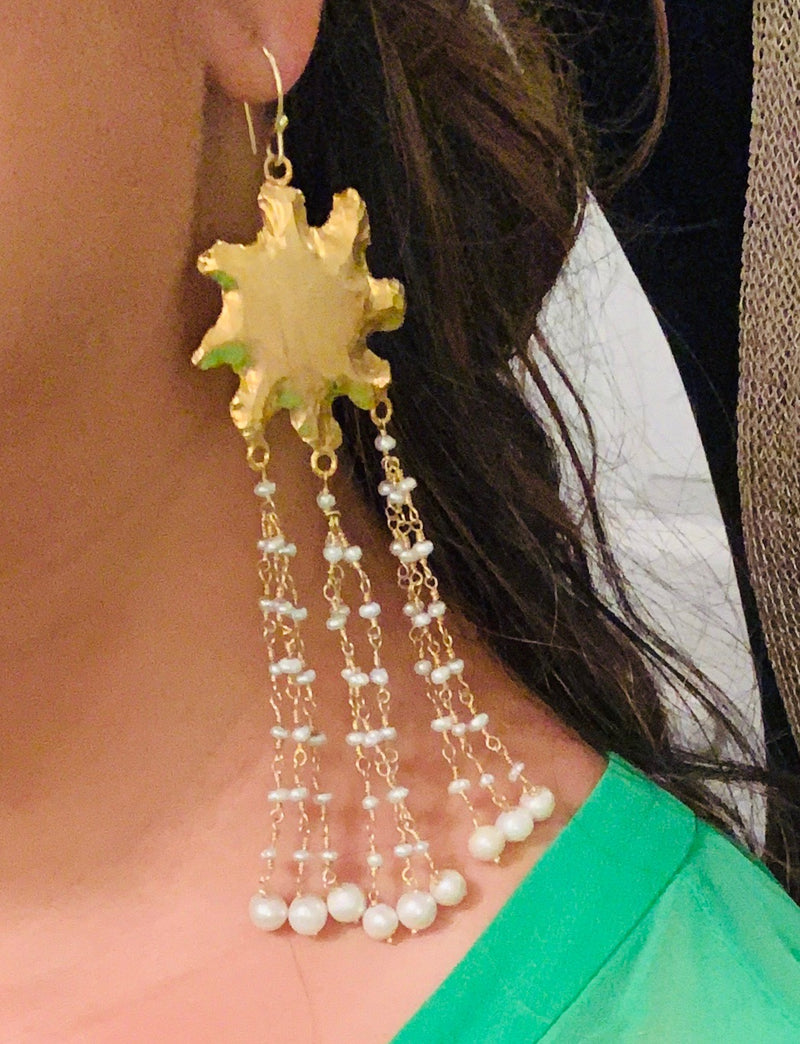 Chakra Tassel Earrings with Pearls