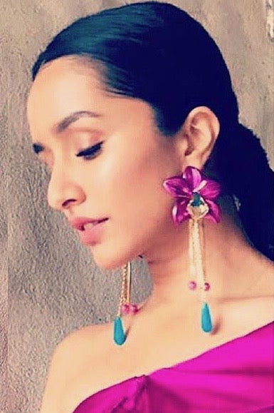 Metallic Orchid Statement Earrings - Fuchsia