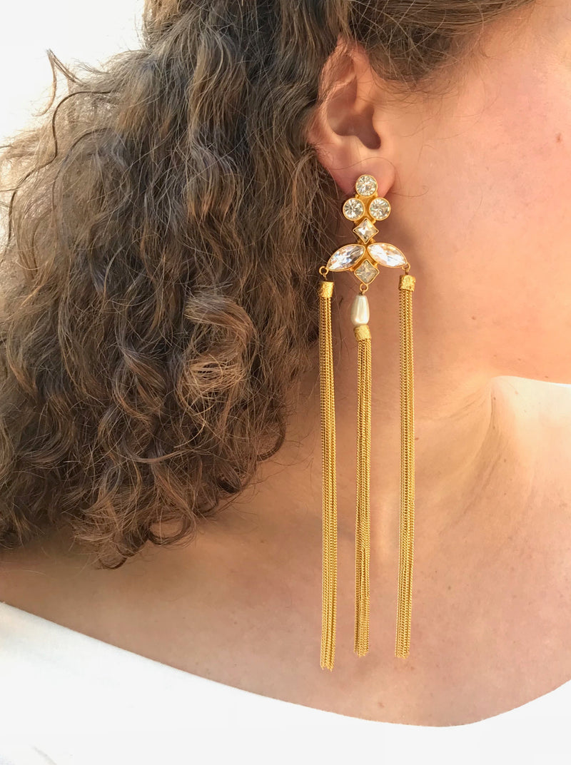 Three Tassel Earrings with Crystals