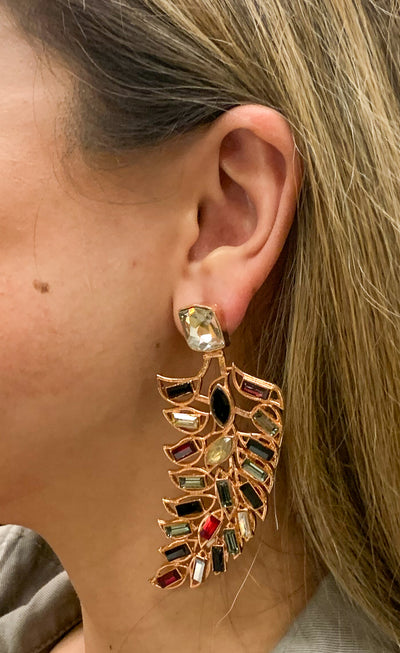 Metal and Stone Feather Earrings