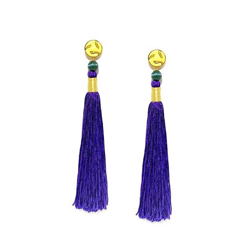 Silk Tassel Earrings Purple