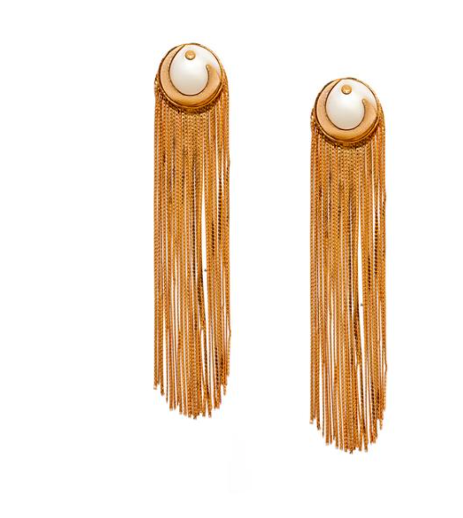 Metal Tassel Earrings in Off-white and Gold