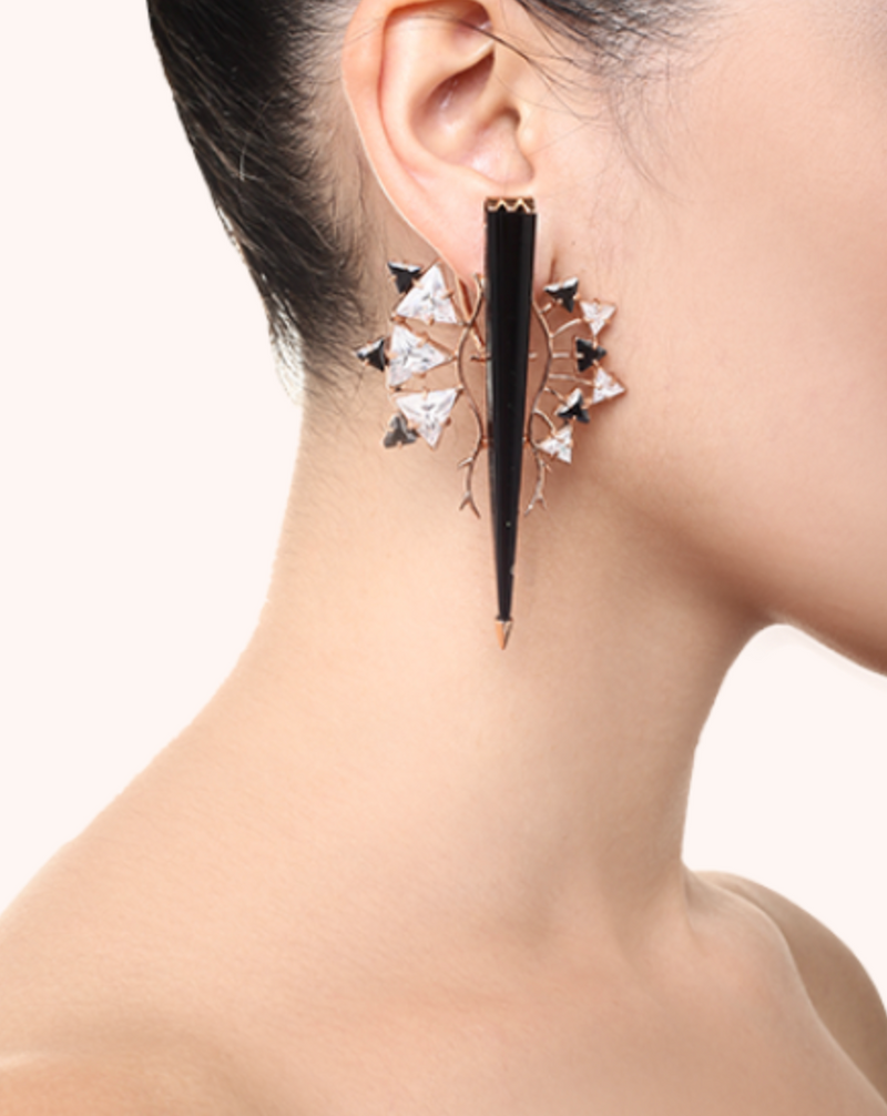 Majestic Onyx Horn Earrings