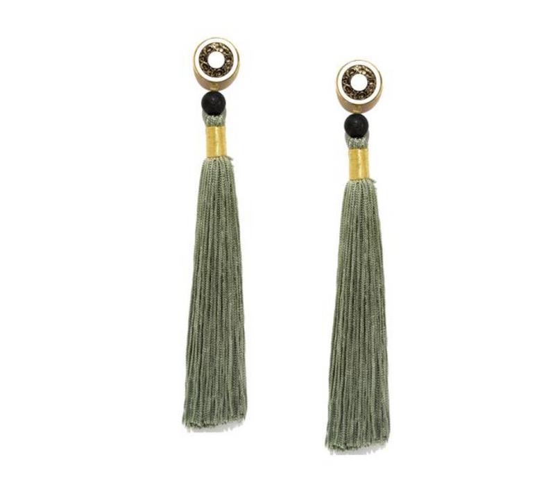 Silk Tassel Shoulder Duster Earrings in Sage