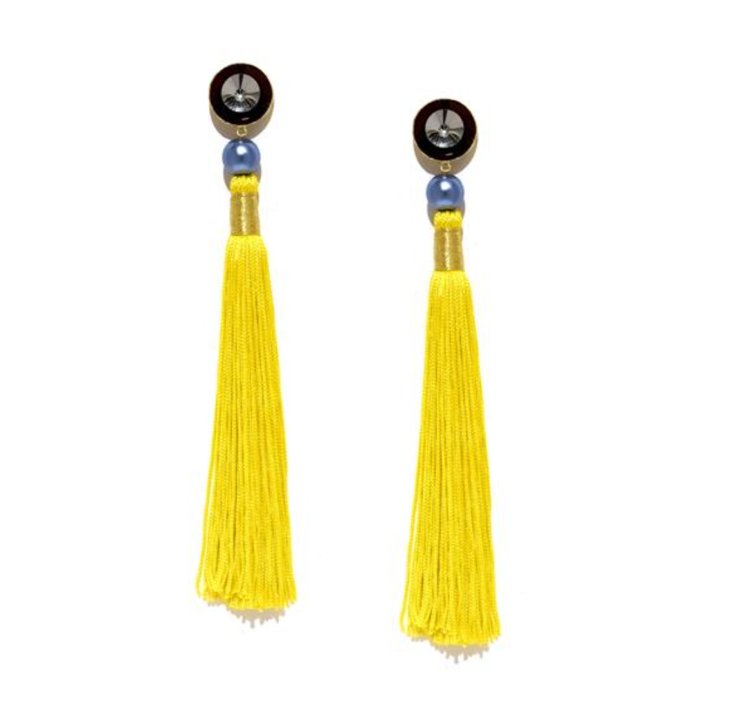 Silk Tassel Shoulder Duster Earrings in Yellow