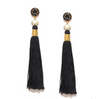 Silk Tassel Shoulder Duster Earrings in Black