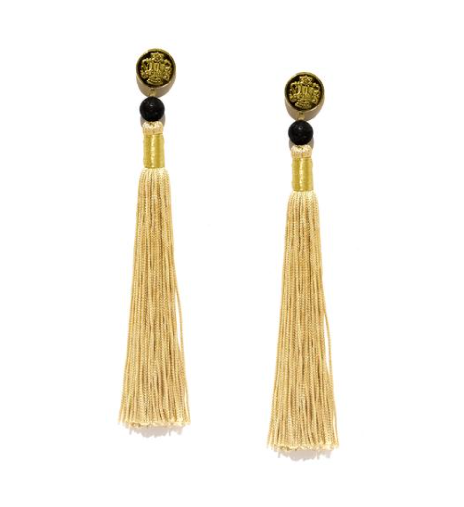 Silk Tassel Shoulder Duster Earrings in Gold