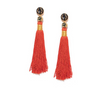 Silk Tassel Shoulder Duster Earrings in Coral Red
