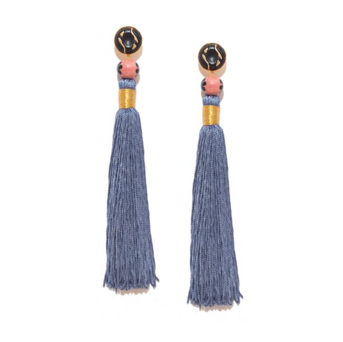 Silk Tassel Shoulder Duster Earrings in Gray