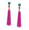 Silk Tassel Shoulder Duster Earrings in Fuchsia