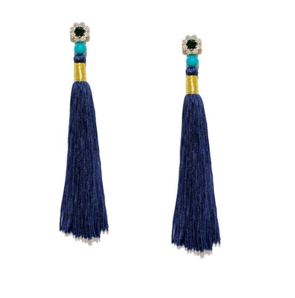 Silk Tassel Shoulder Duster Earrings in Royal Blue