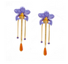 Metallic Orchid Statement Earrings – Purple