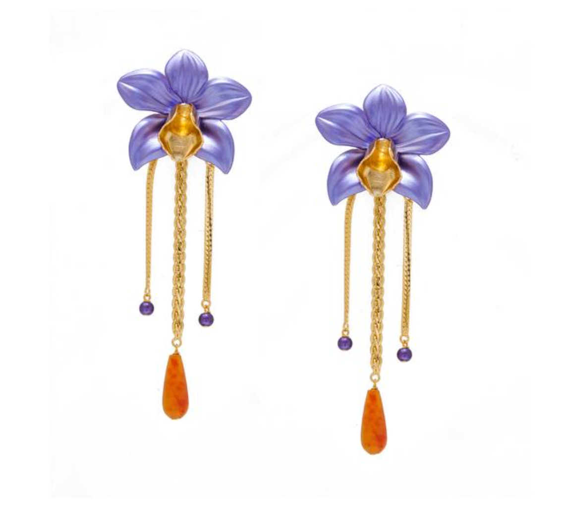 Metallic Orchid Earrings – Purple
