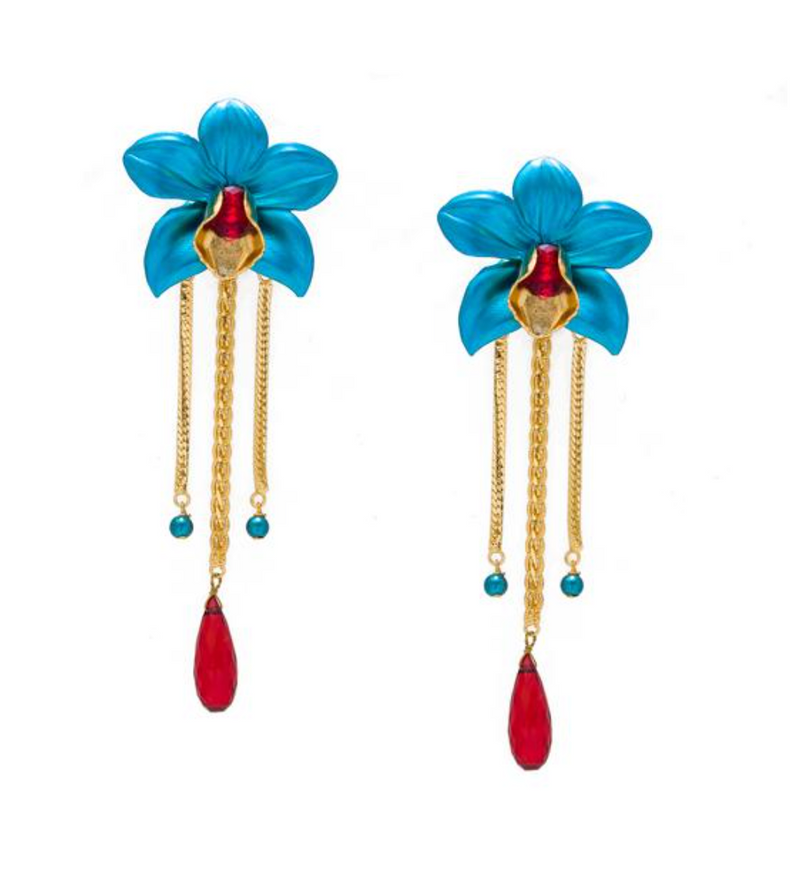 Metallic Orchid Statement Earrings – Turquoise