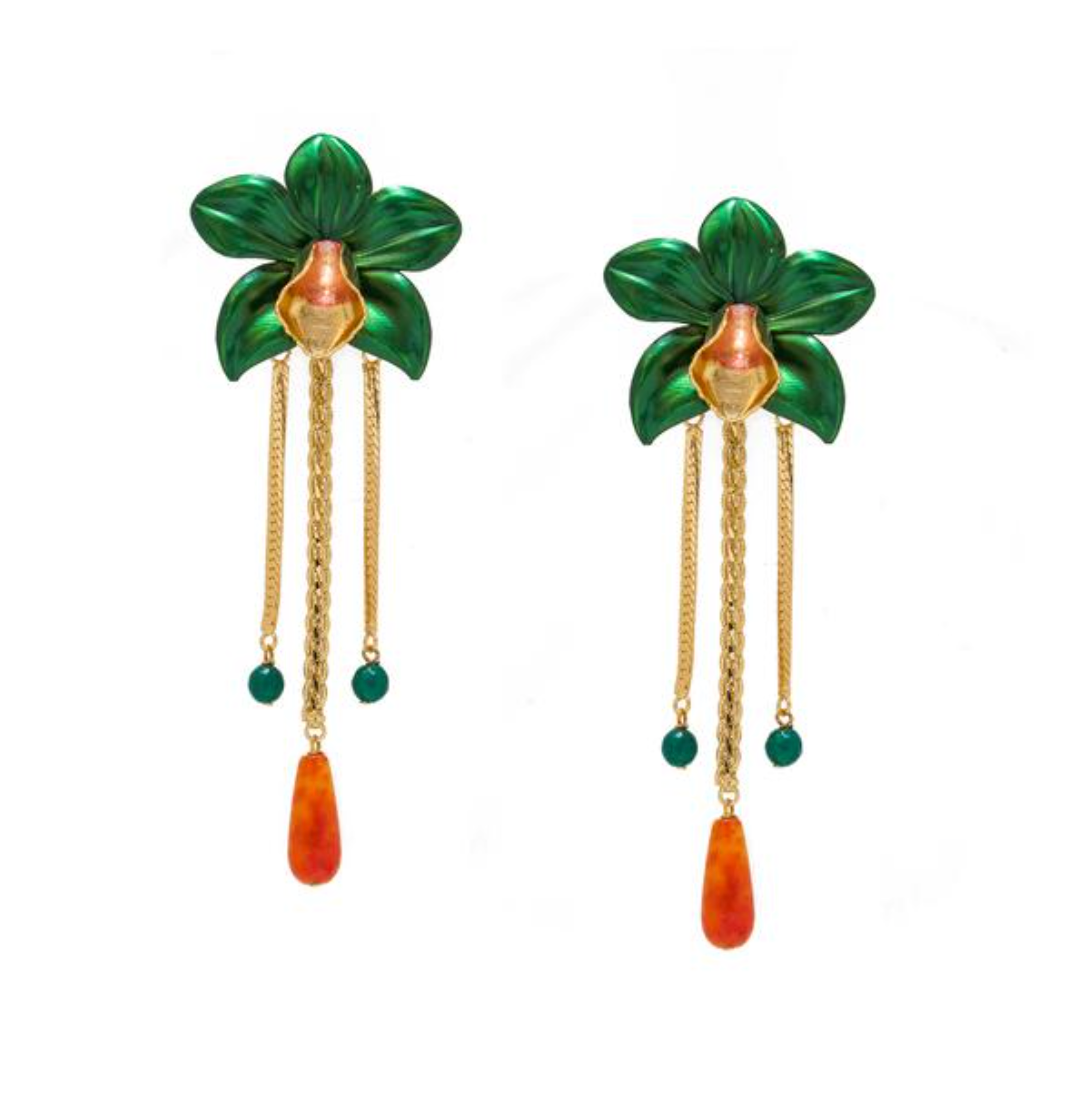 Metallic Orchid Statement Earrings - Green