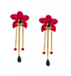 Metallic Orchid Statement Earrings – Red