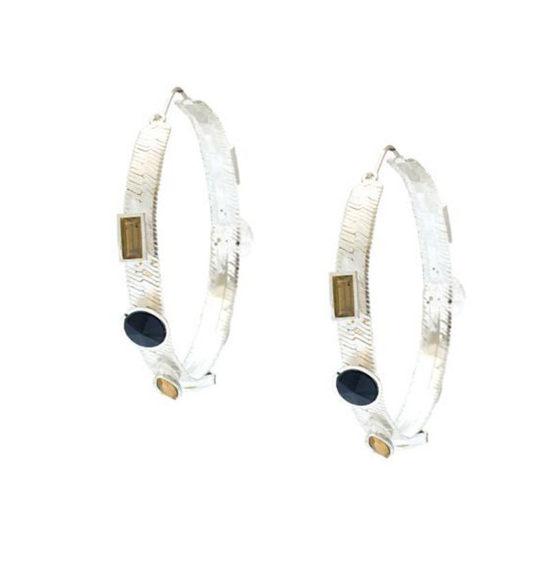 Jeweled Hoop Earrings
