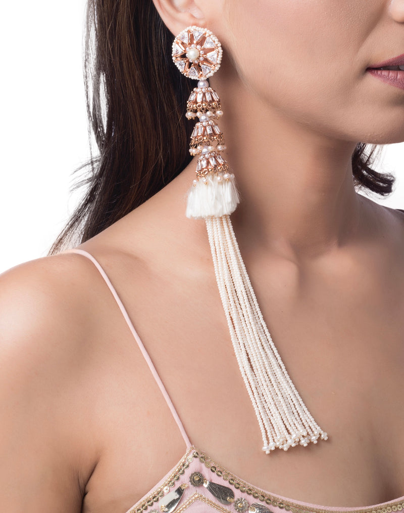Heritage pearl tassel earrings
