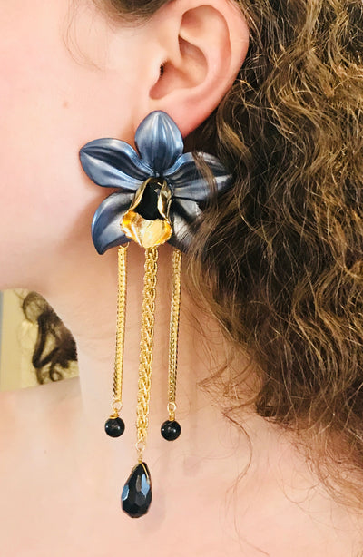 Metallic Orchid Statement Earrings – Gray