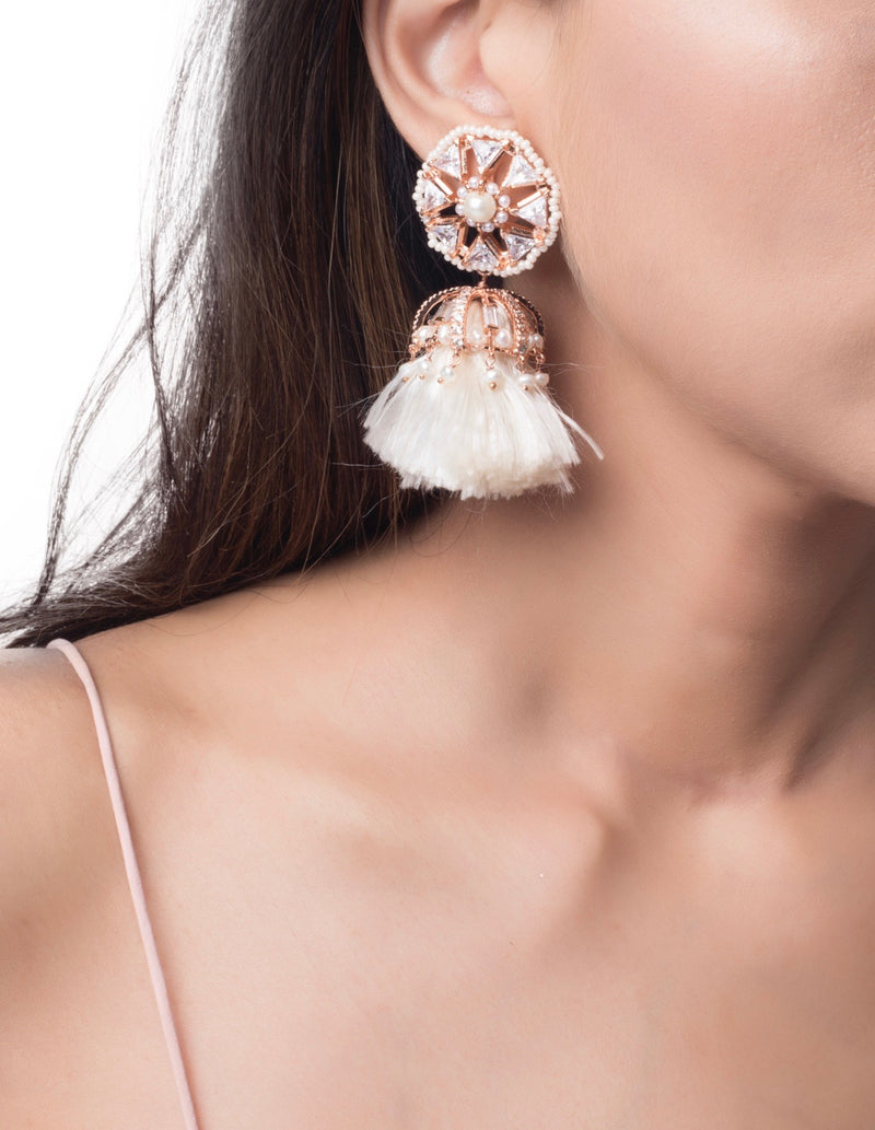Crystal mogra tassel earrings