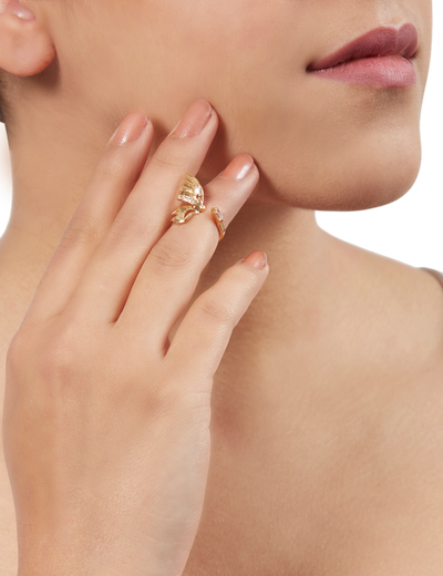 Gold Flutter Midi Ring Small