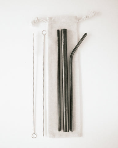 Black | 6 Piece Stainless Steel Reusable Straw Set - Blush Grove