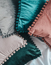Velvet Pom-Pom | Cushion Cover & Insert - Blush Grove
