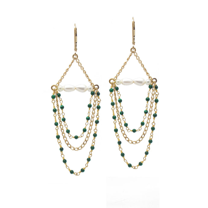 Penelope Malachite and Pearl Chandelier Earrings