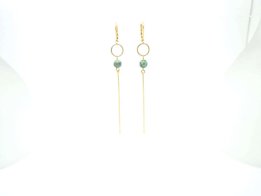 African Turquoise Line Earrings