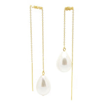 Girl With A Pearl Threader Earrings - Gold