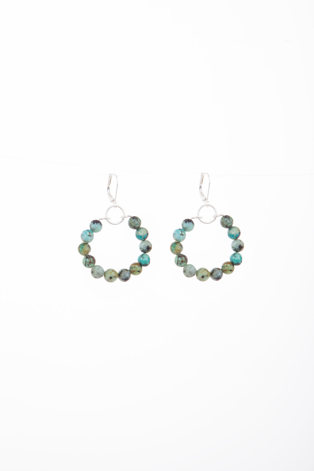 African Turquoise Tribal Silver Earrings