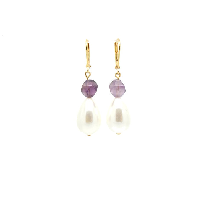 Royal Pearl and Amethyst Earrings