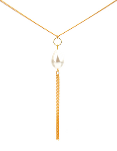Girl With A Pearl Threader Necklace - Gold