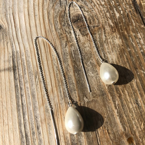 Girl With A Pearl Threader Earrings - Silver