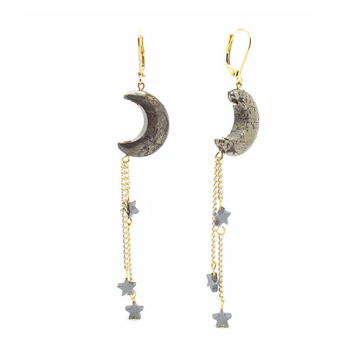 Pyrite Luna Earrings