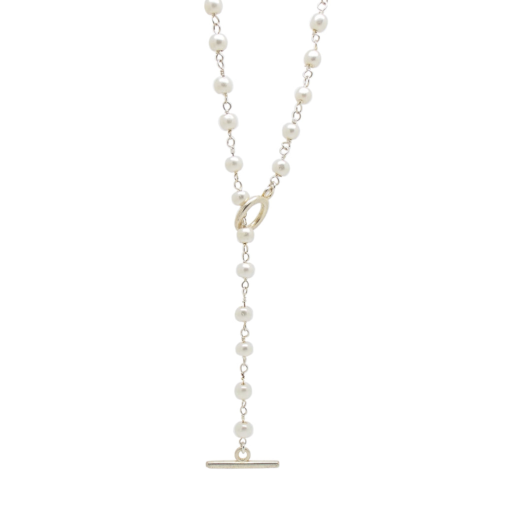 Bridal Collection Silver Pearl Lariat Necklace
