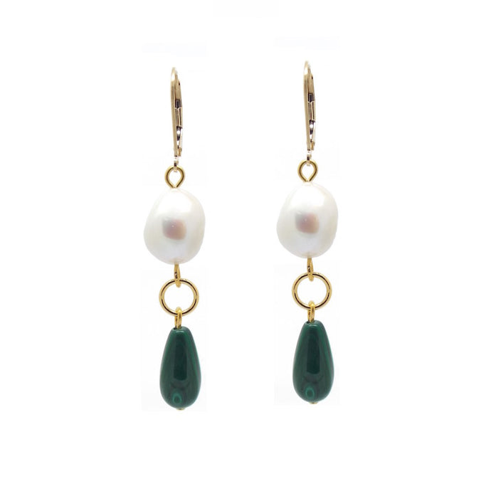 Penelope Malachite and Baroque Pearl Earrings