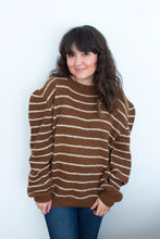 Load image into Gallery viewer, Vintage Women's 70's Puff Sleeve Stripe Sweater