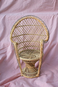 Vintage Wicker Doll Chair/Plant Stand