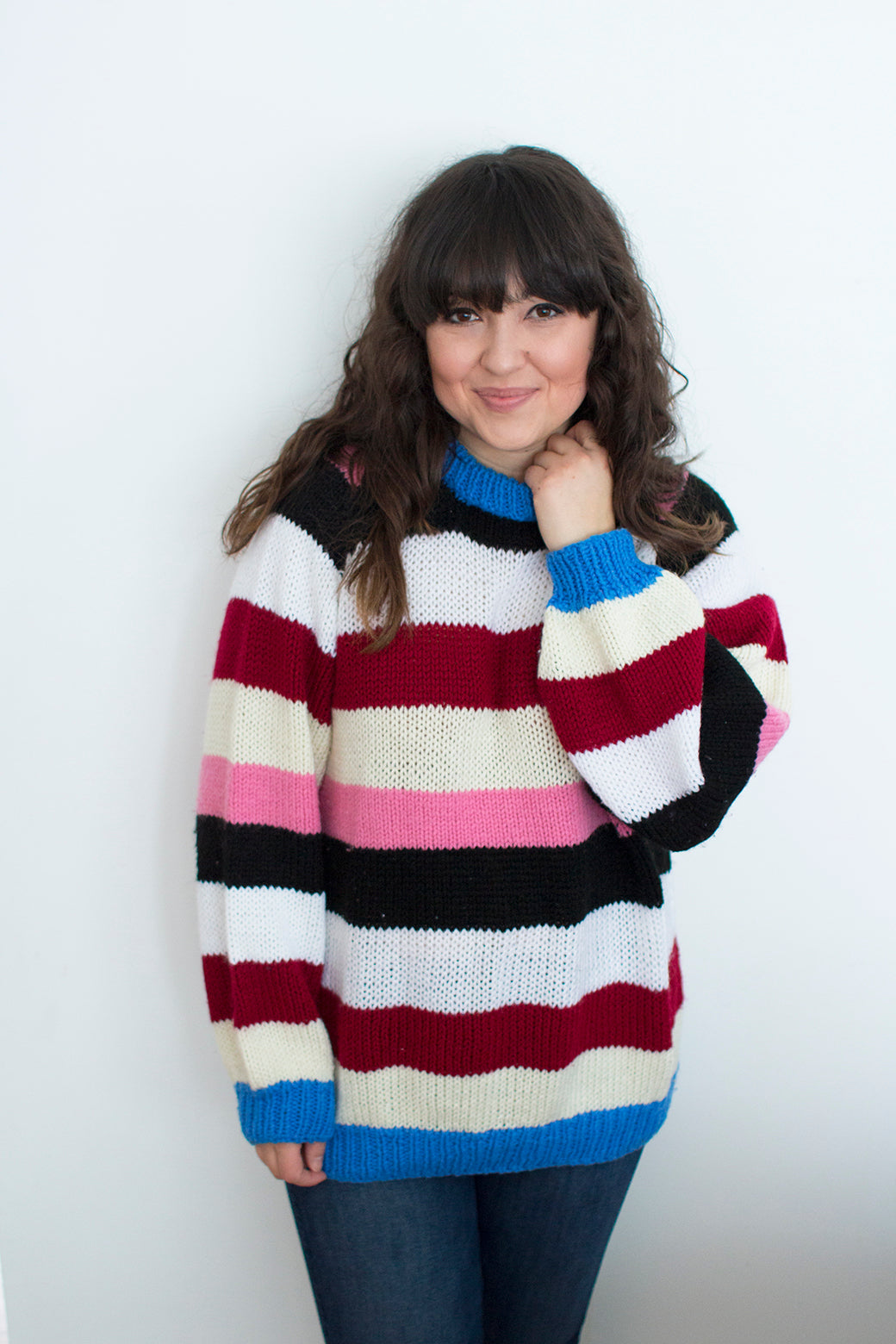 Women's Stripe Hand Knit Sweater