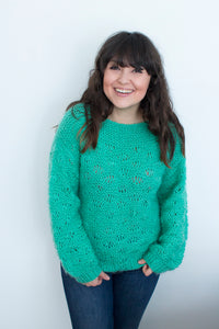 Women's Vintage Green Hand Knit Sweater