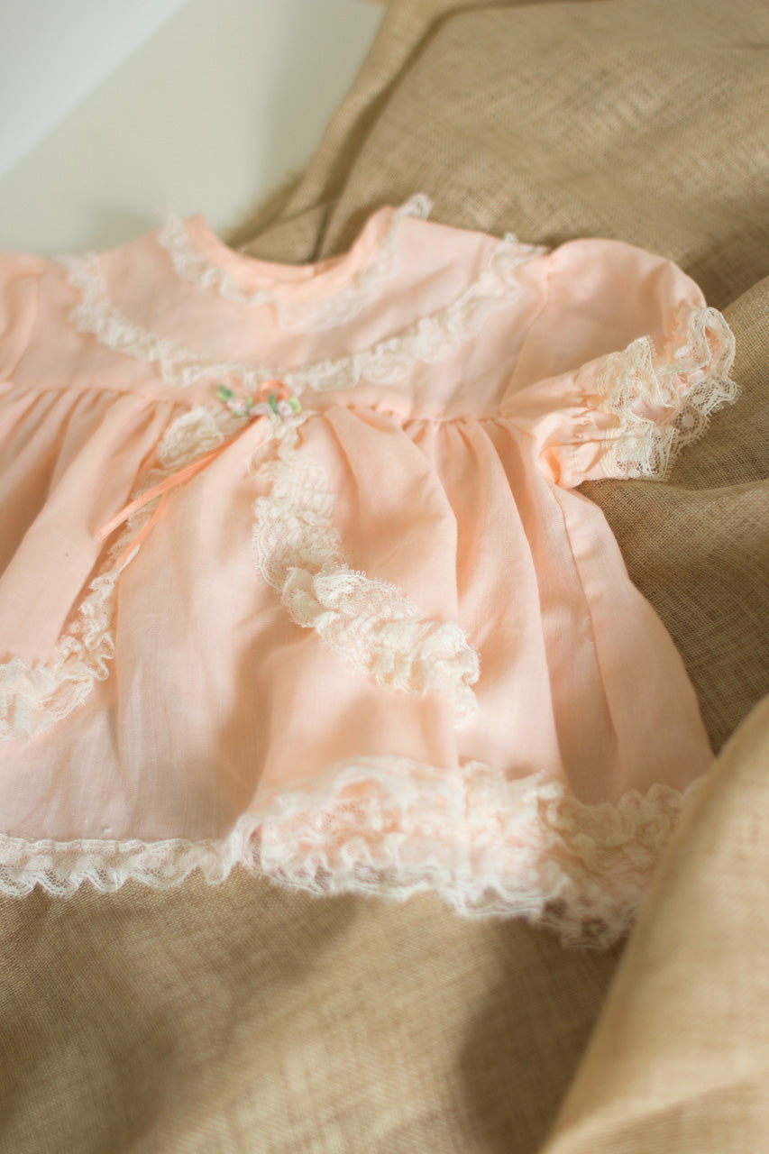 Vintage Baby Girl Peach Dress