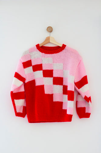 Kids Pink and Red Vintage Sweater