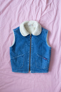 Vintage Kids Denim Shearling Vest