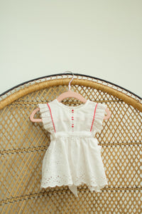 Vintage Baby Girl Eyelet Red Trim Top