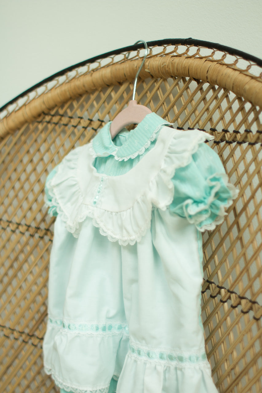 Vintage Baby Girl Teal Dress